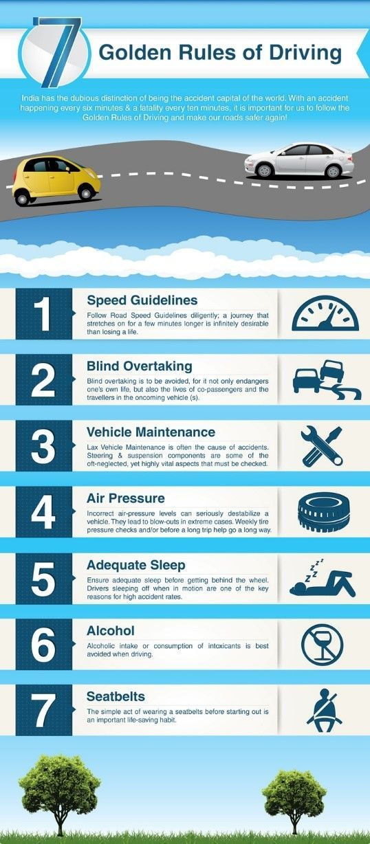 Infograph 7 golden rules of driving. Make sure you follow