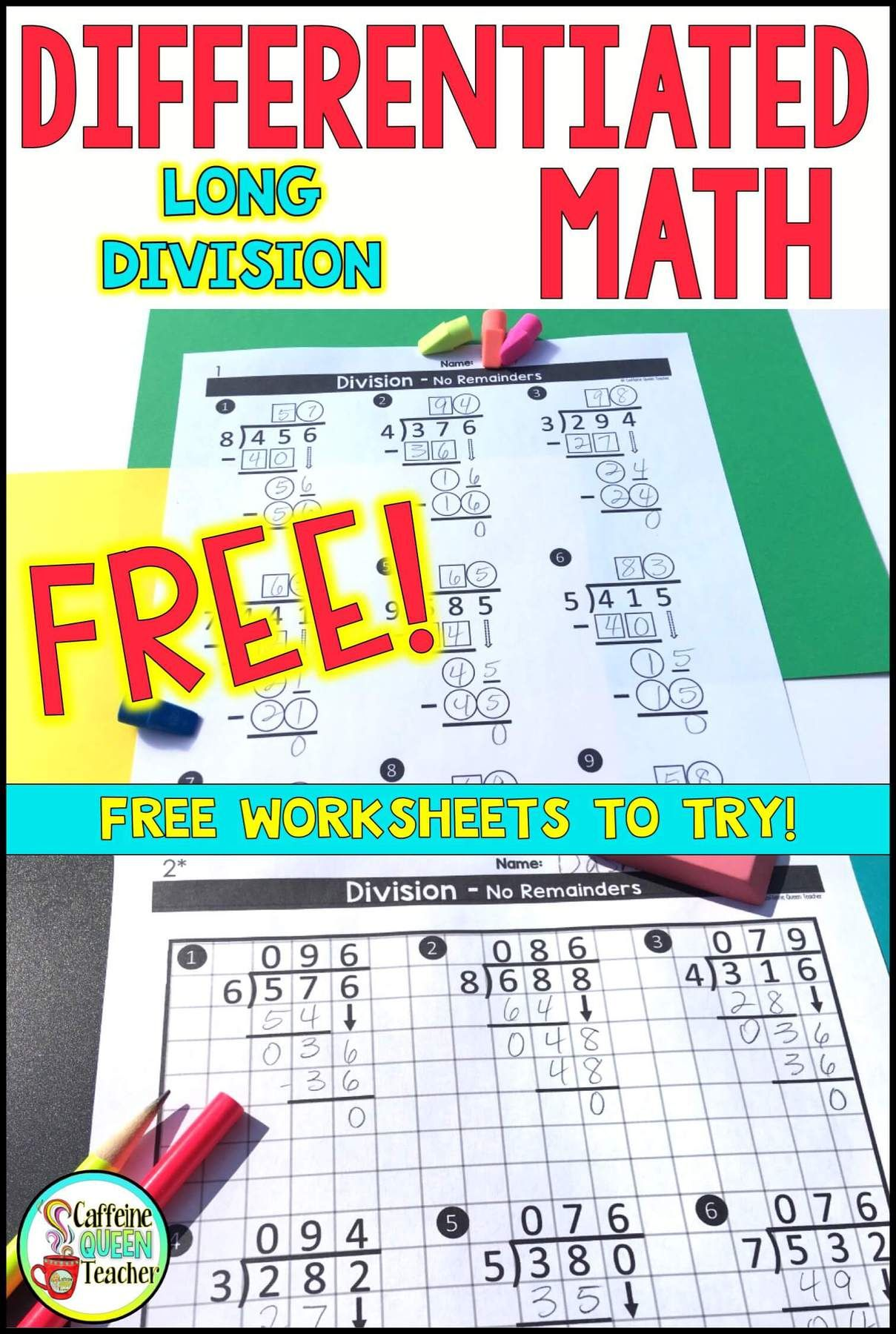 Differentiated Long Division Worksheets For Free In