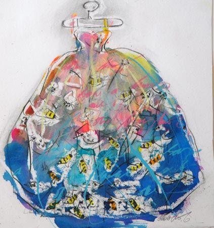 "Eva's Dress iv  by Christine Bowen  2006    11"" x 10""  sold•  mixed media on paper"