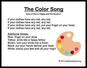 10 Preschool Songs About Colors | Recipes for play | Preschool songs ...