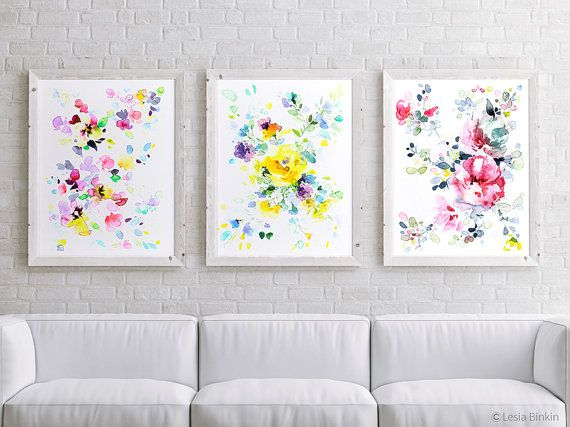 Color Splash Bright Watercolor Flowers Art Set Of 3 Floral Wall Prints Wall Decor Abstract Art Colorful Pink Artwork Watercolor Flower Art Watercolor Flowers