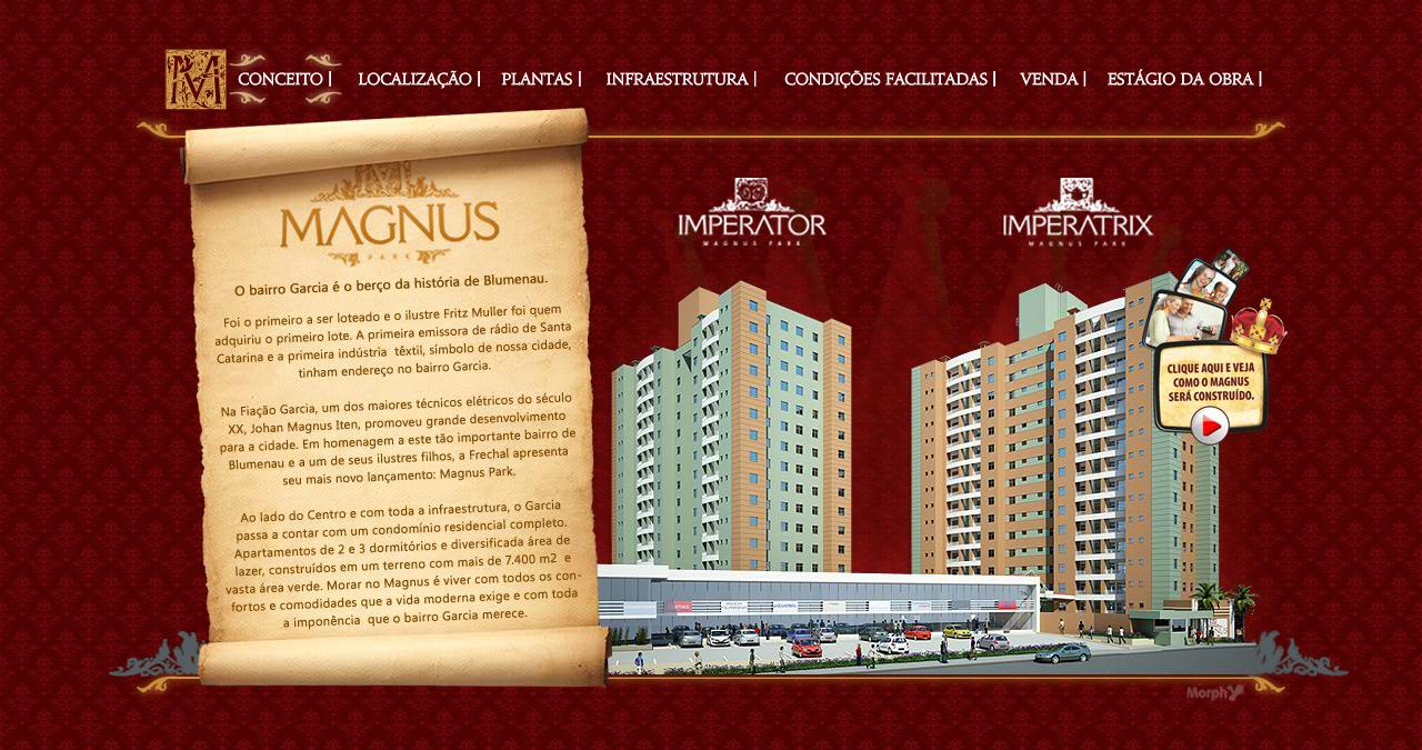 A construtora e incorporadora Frechal agora tem um hotsite para o empreendimento Magnus, que está em construção na cidade de Blumenau.