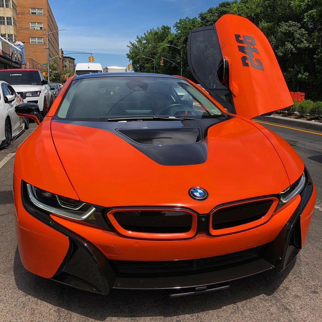 Wrapped And Ready To Go Autosportswraps Bmw I8 Slick Rick 246 Bmw I8 Orange Carwrap Layednotsprayed Carwraps Chromedelete Bmw Bmw I8 Car Wrap
