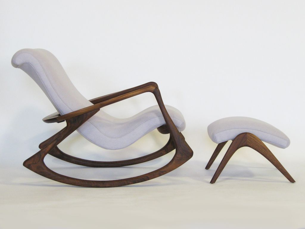 Contour rocking chair and ottoman by vladimir kagan for Small modern chair