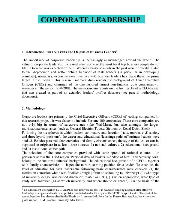 Corporate Leadership Philosophy Example  Business