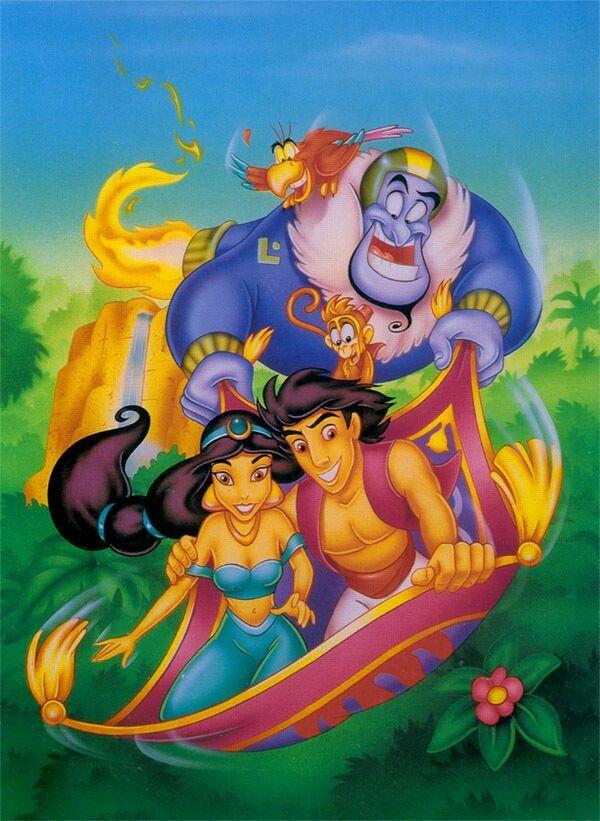 Aladdin Jasmine Abu Genie Riding On The Magic Carpet Disney Movie Art Aladdin And Jasmine Disney Animated Movies