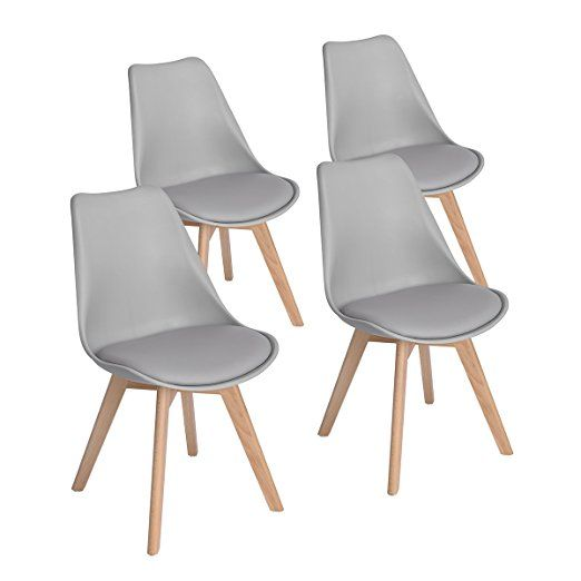 Set Of 4 Modern Eames Style Side Dining Chairs With Soft Padded Seat Wooden Legs Upholstered Leather Kitchen Chairs B Con Immagini Sedie Imbottite Sedia Cucina Sedia Grigia
