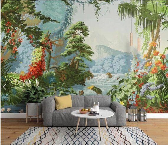 Hand Painted Jungle Wall Mural Tropical Flower Wallpaper