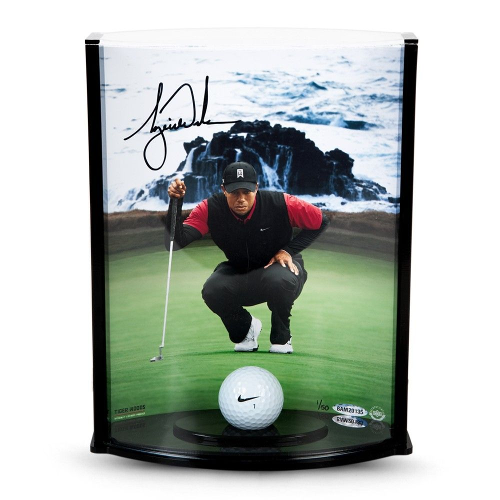 ffbcecf9 Tiger Woods Signed Pebble Beach Hole No. 7 Picture with Range Driven ...