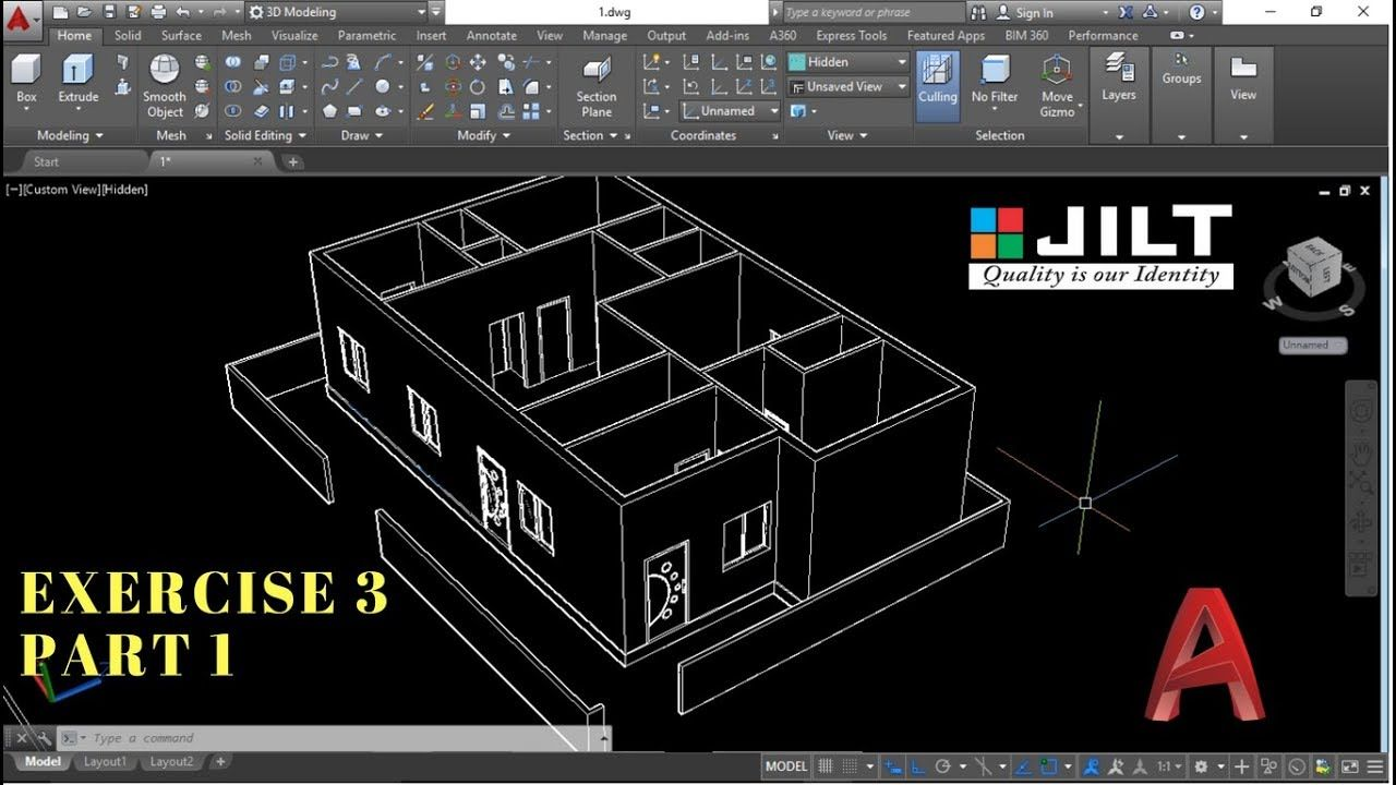 Create 3d House Using Autocad In Easy Steps Ex 3 Part 1
