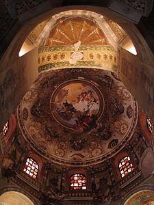 Cúpula central, Iglesia de San Vital de Rávena - Rávena, Italia - Arte Bizantino