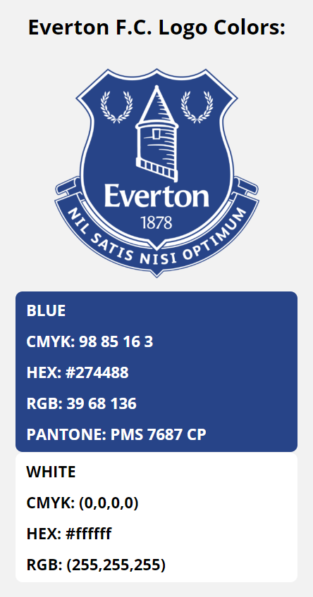 Everton F C Color Codes Hex Rgb Cmyk And Pantone In 2020 Team Colors Color Coding Blue Cmyk