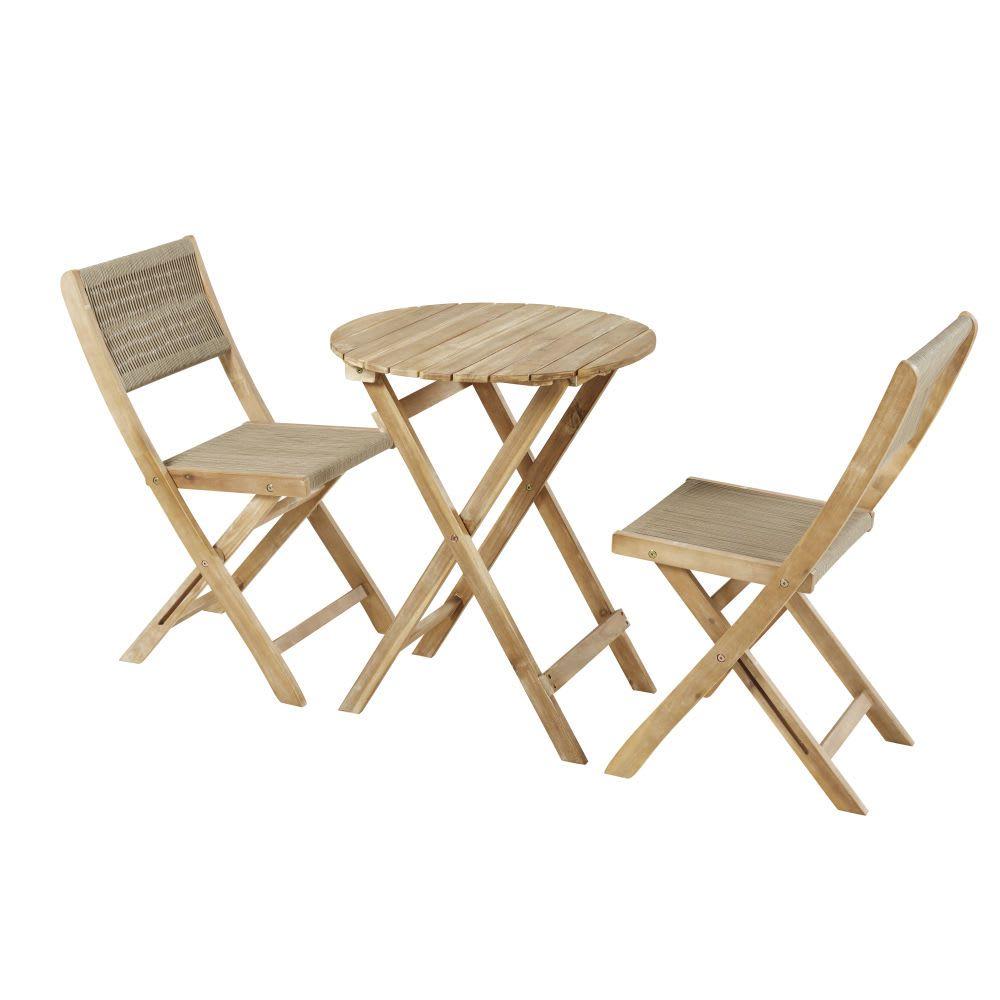 Gartentisch Und 2 Stuhle Aus Massivem Akazienholz Fur 2 Personen