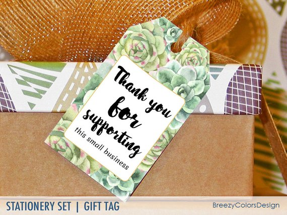 Thank You For Supporting Small Business Succulent Favors Tags Etsy Succulent Favors Printable Gift Template Printable