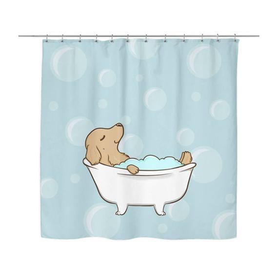 Golden Retriever Shower Curtain Dog Shower Curtains Bath Curtain