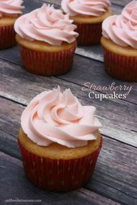 These Strawberry Cupcakes have the perfect amount of strawberry flavor. Great for Valentine's Day, summer times, or if you are like me - anytime!
