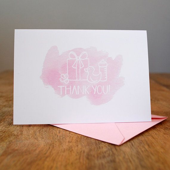 Set of 8 Baby Shower Thank You Notes - Baby Girl Pink - by Shake the Love on Etsy