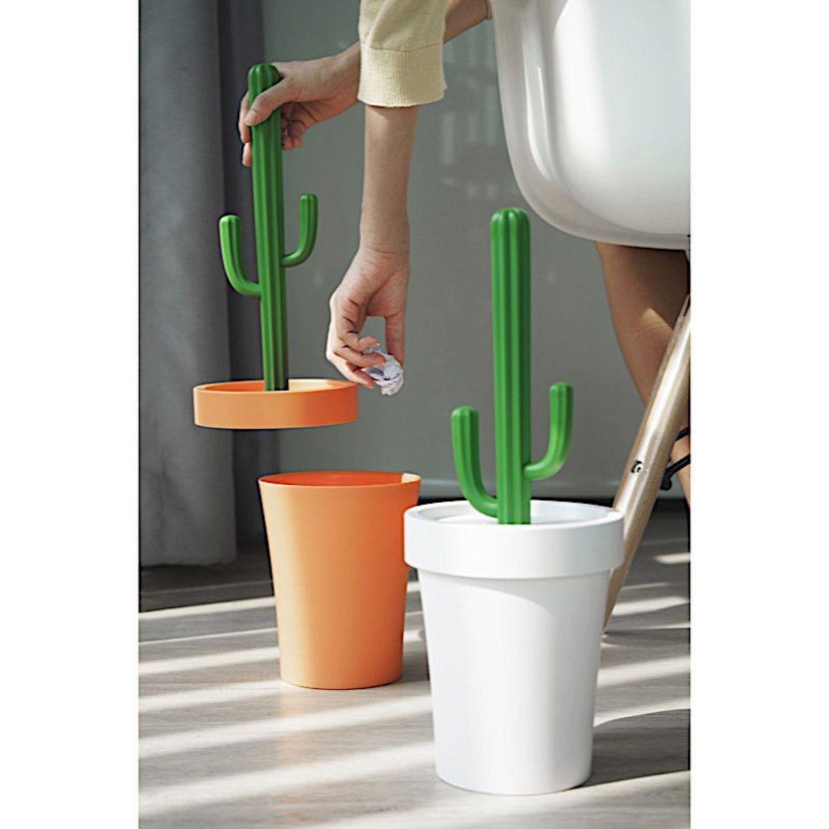 Poubelle Salle De Bain Poubelle Cactus Orange/Vert