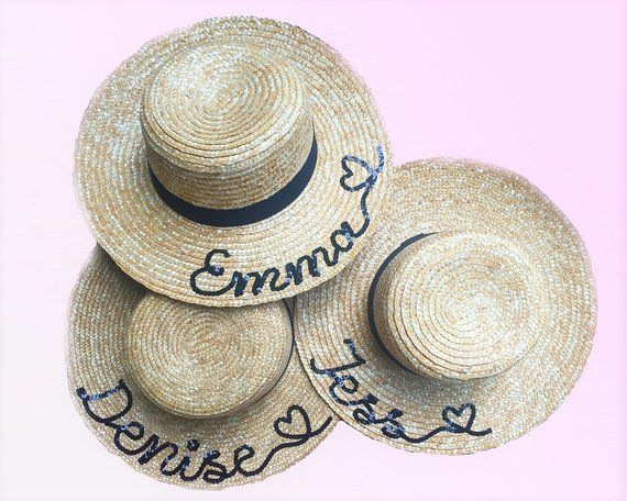 c0f2961a Personalised Straw Boater Hat | Natural Straw Boater | Straw Boater Hat  With Black Band | Sequin Boater Hat | Summer Boater | Travel Hat |  #summersequins ...