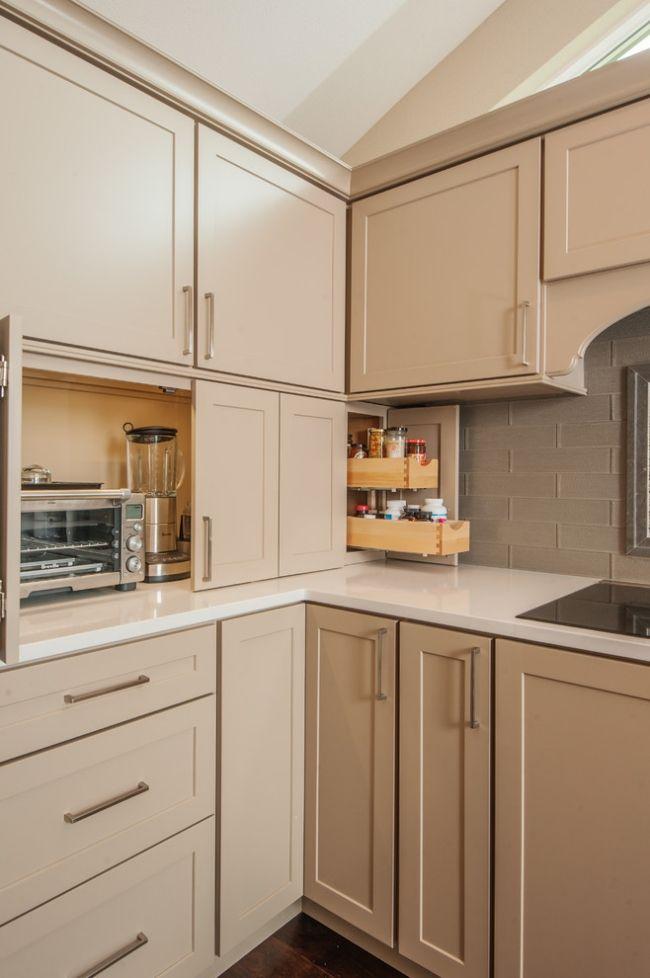 beige küchenzeile elektrogeräte verstecken schranktueren Küche - küchen design outlet