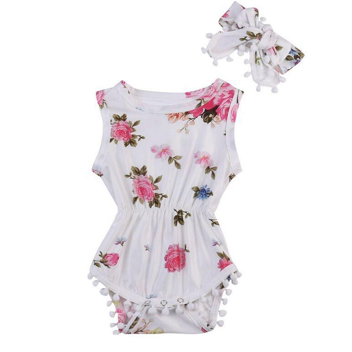 9cd54eb78 Newborn Infant Baby Girl Floral Romper Bodysuit Jumpsuit Headband ...