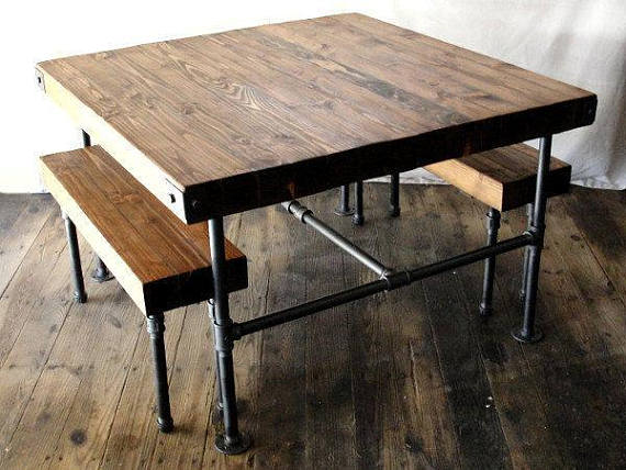 Prime Thick Rustic Butcher Block Wood Dining Set Table Benches Pabps2019 Chair Design Images Pabps2019Com