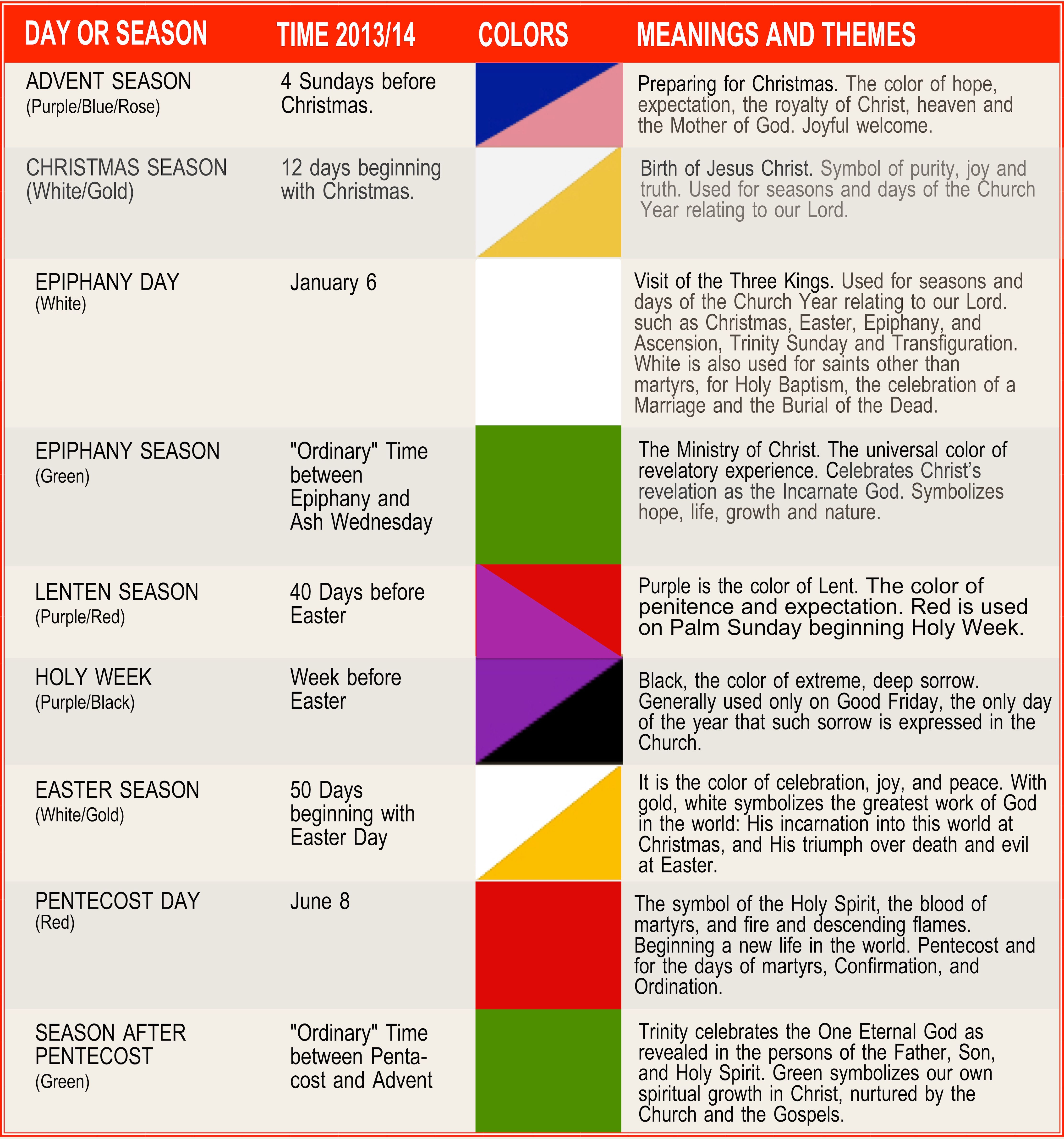 Our Episcopal Church Year Is Divided Into Seasons Each