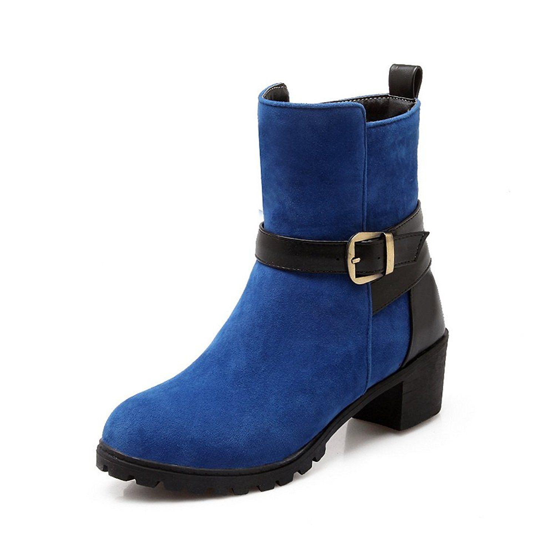 Ladies Chunky Heels Studded Rhinestones Metal Buckles Mule Imitated Leather Boots