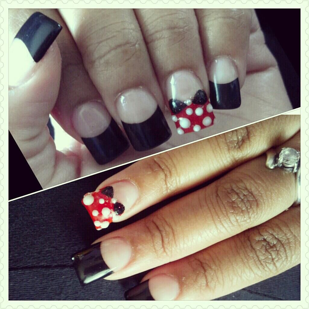 One of my many Acrylic Disney Nail designs. 3D Minnie Bow & Polka ...