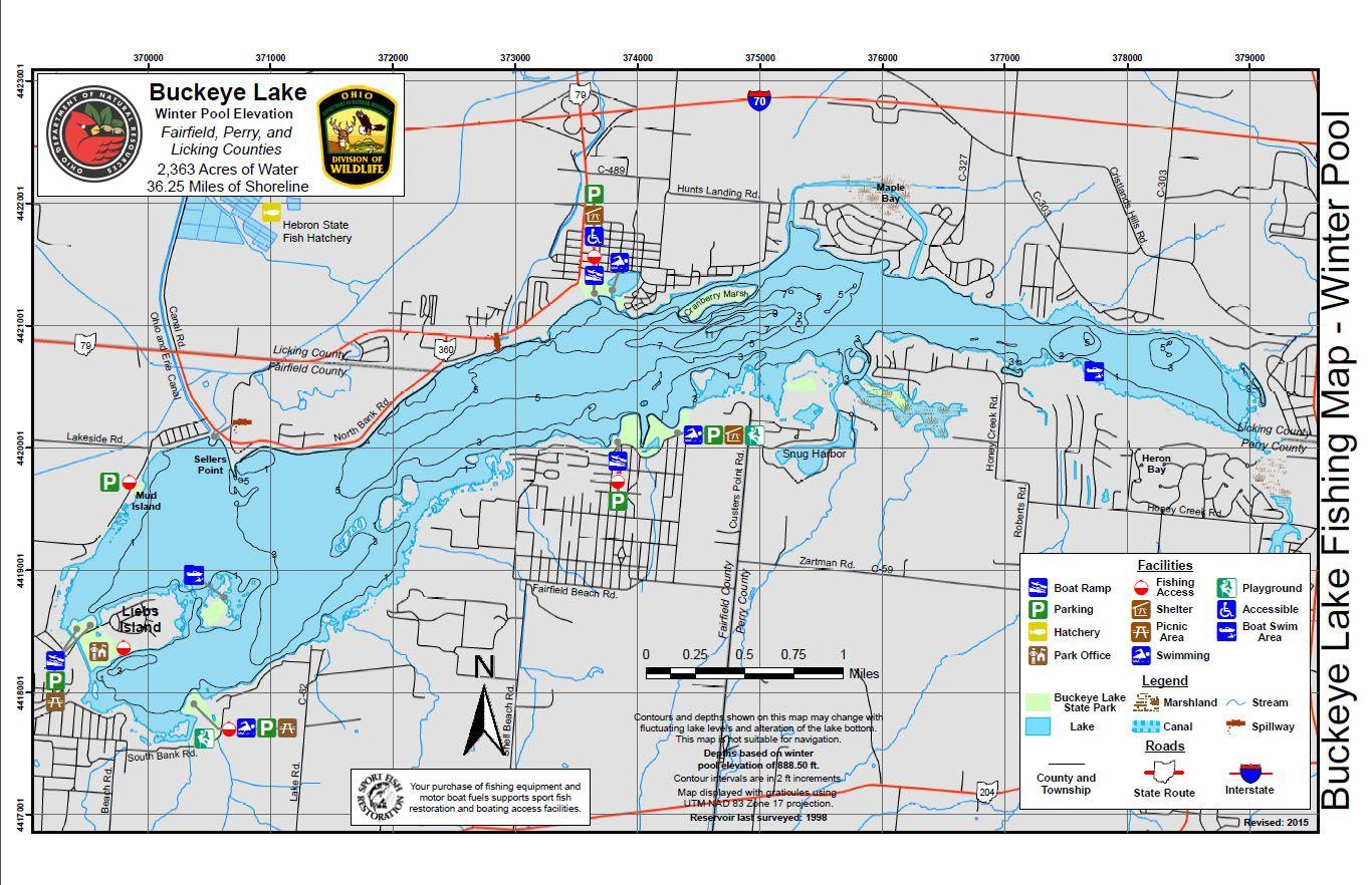 buckeye lake ohio map Buckeye Lake Buckeye Lake Fishing Maps Lake buckeye lake ohio map