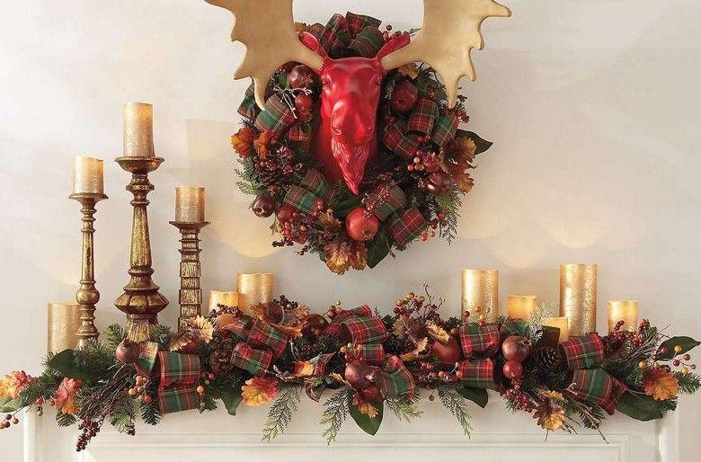 Weihnachtsdeko f r den kaminsims girlande aus stoff und tannenzweigen deko amerikanische - Weihnachtsdeko girlanden ...