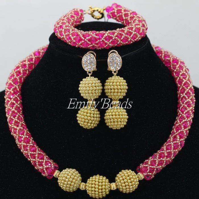Fashion Bridal Jewerly Sets African Fuchsia/Gold Beads Nigerian ...