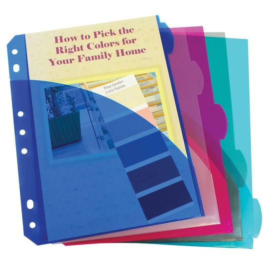 Mini-Size 5-Tab Poly Index Dividers With Pockets, 12 Packs