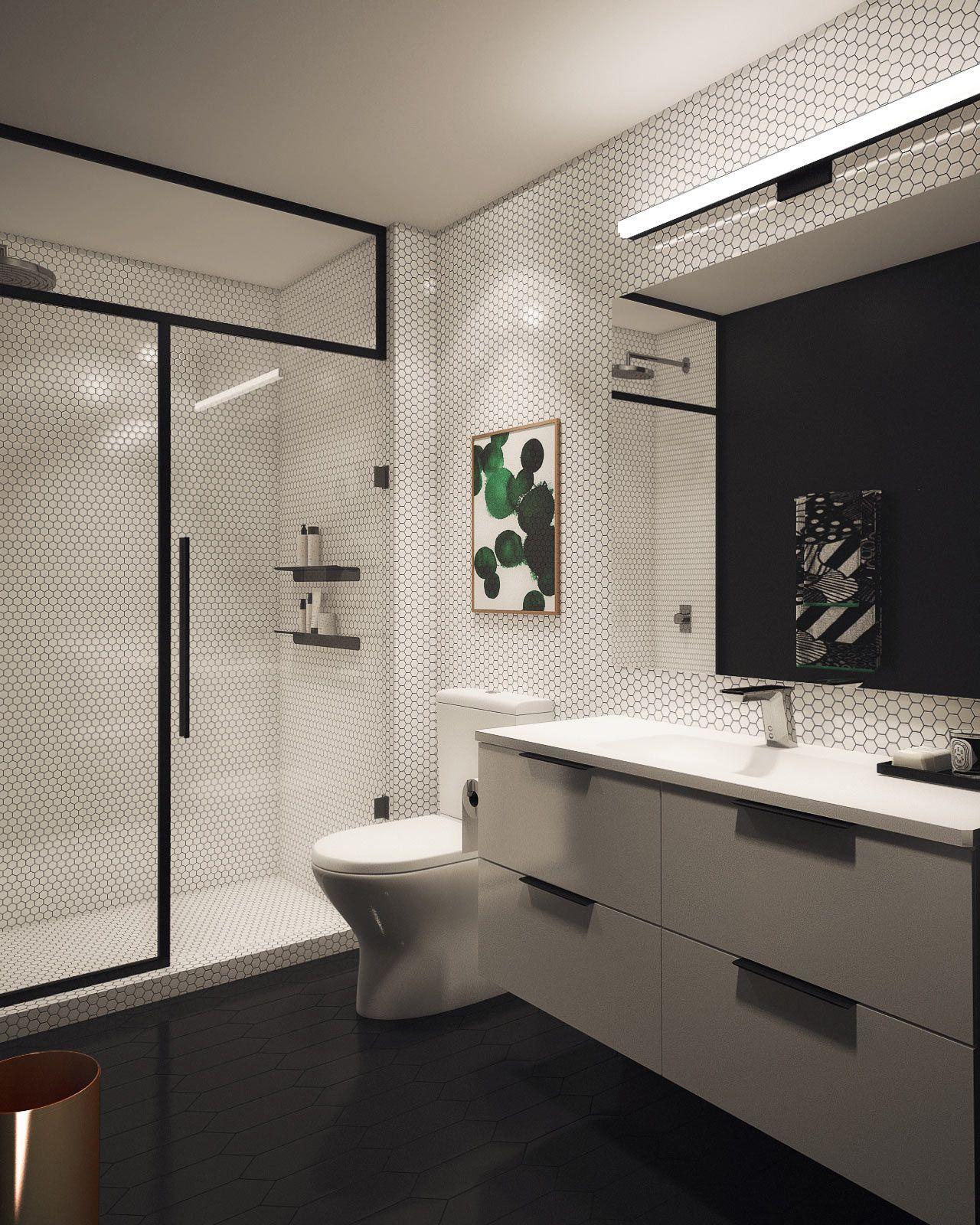 Basic Bathroom Gets A Graphic Modern Renovation Modern - Modern custom houseboat graphics