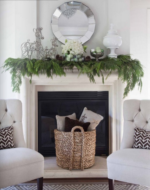 Basket In Front Of Dark Fireplace