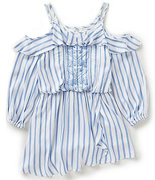 8102f1a01693 GB Girls Big Girls 7-16 Striped Cold-Shoulder Embroidered Romper ...