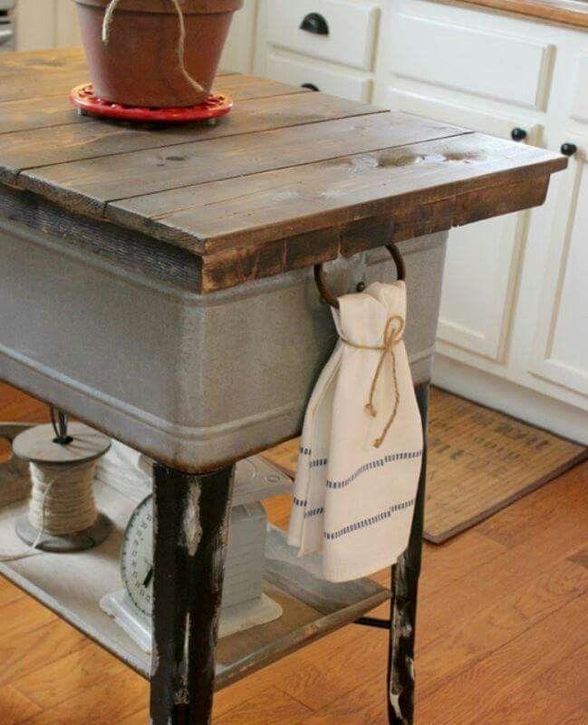 Old wash tub island via FB | Kitchen makeovers | Pinterest | Kitchen ...