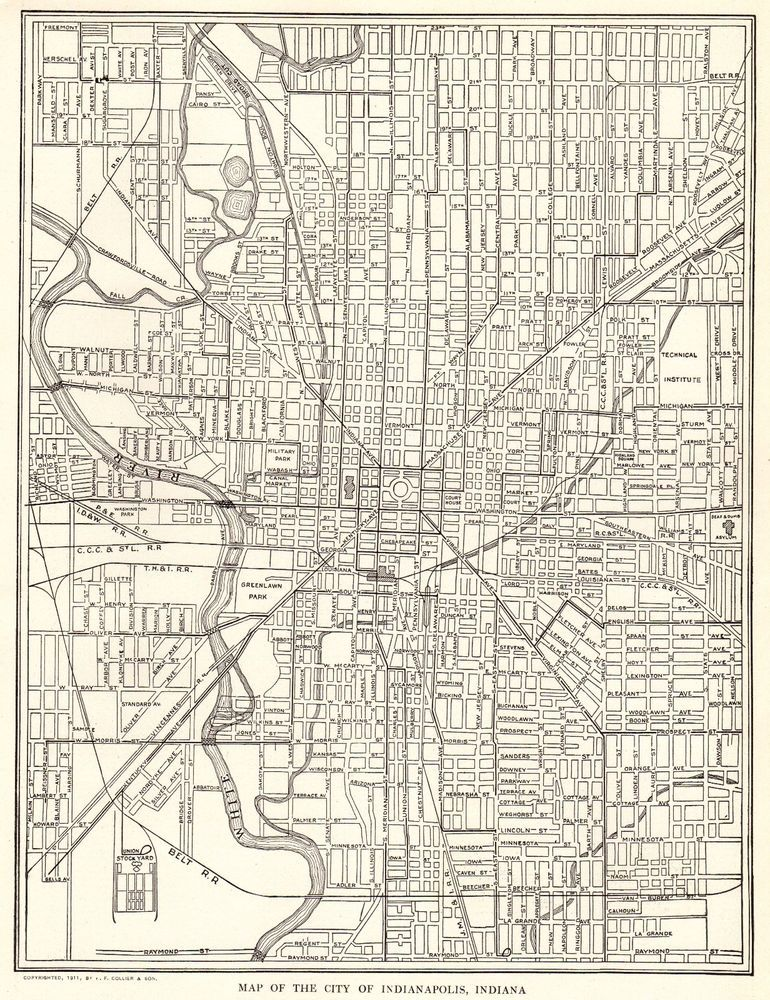 1914 Antique Indianapolis Minnesota City Map Black White Gallery