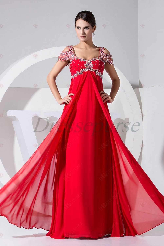 new design aline fulllength empire cap sleeveless red chiffon