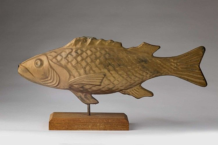 MOLDED SHEET METAL GOLD PAINTED COD FISH WEATHERVANE, 20th century.