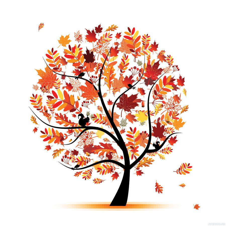 Рисунок дерева с круглой кроной с осенними листьями ...