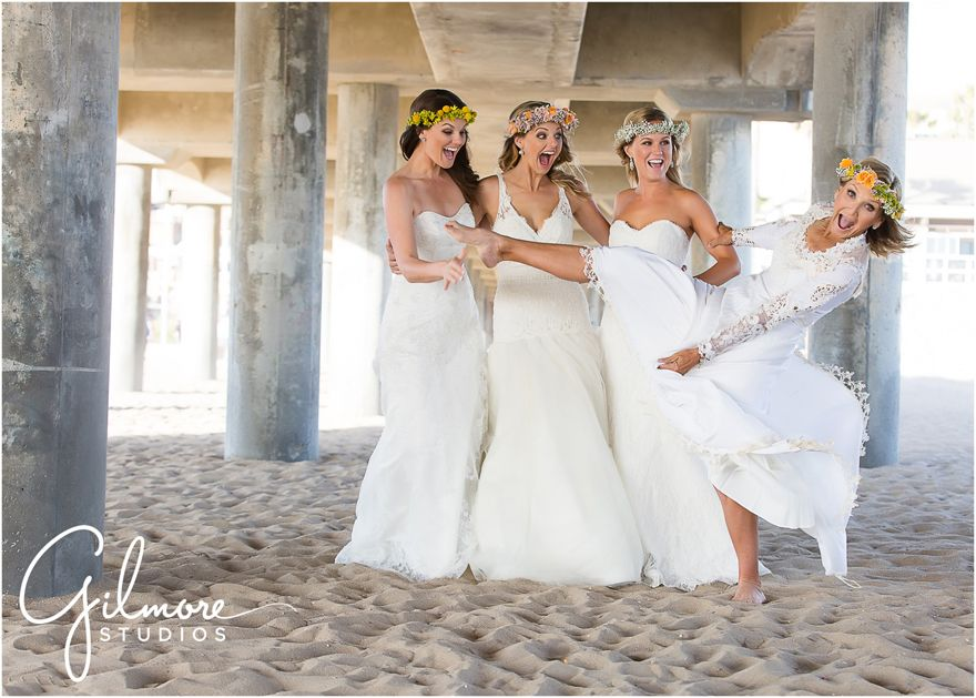 Mother And Daughters The Wedding Dress Session Huntington Beach Photographer HB Pier Cali CA California Three