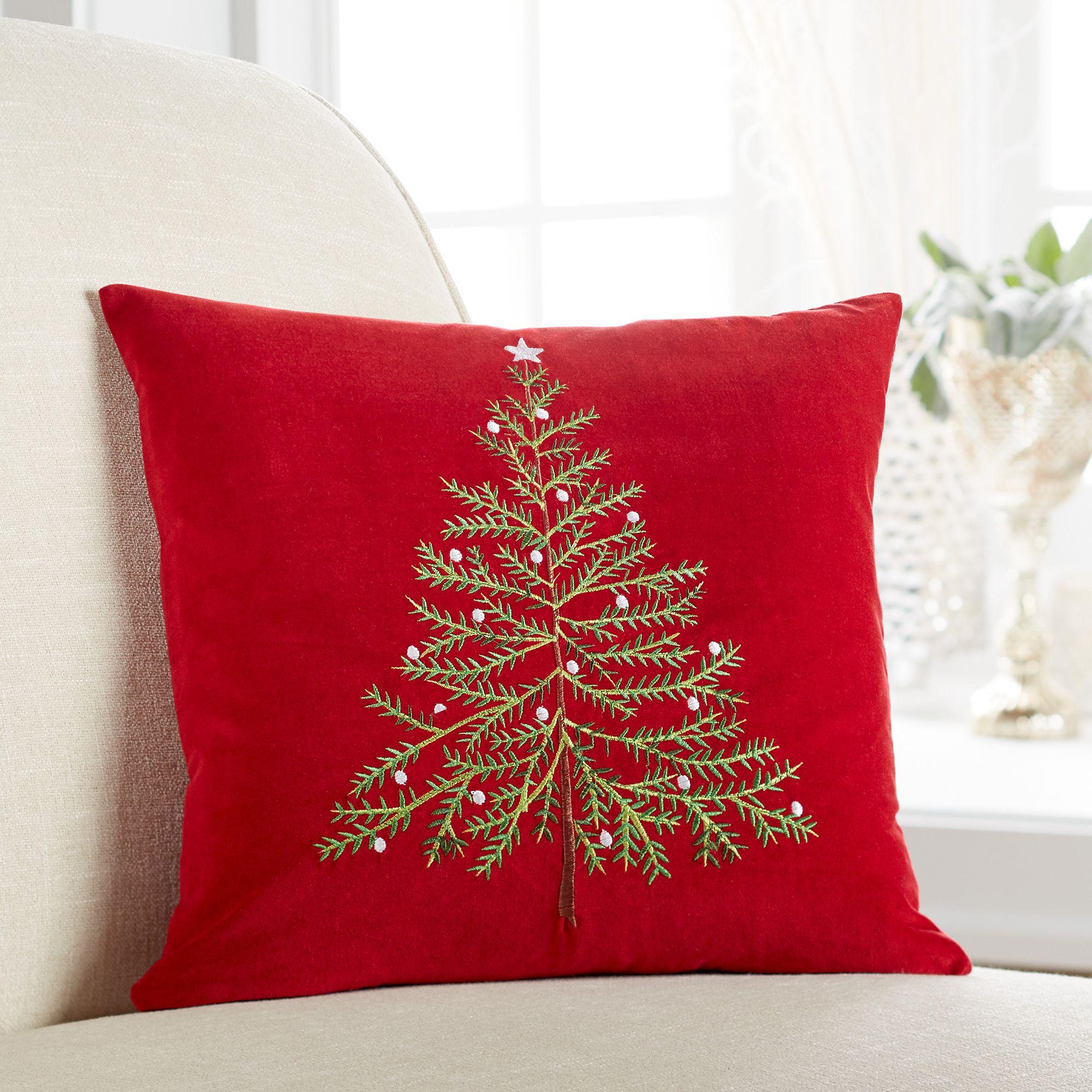 Velvet Embroidered Christmas Tree Pillow Red Christmas Decor Holiday Pillows Christmas Tree Pillow