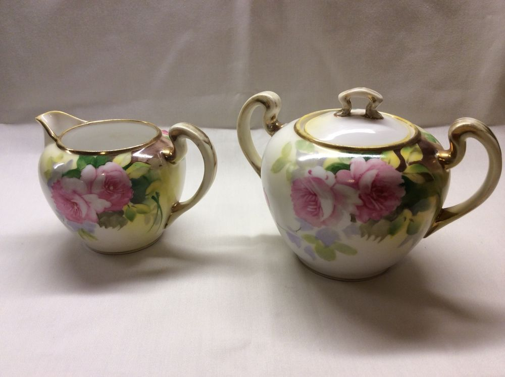 Hand Painted Nippon Moriage Pink Roses Gold Trim Creamer