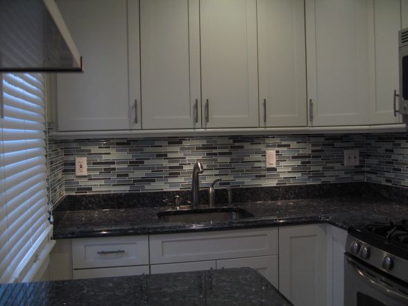 Small kitchen in nyc my brand new kitchen cream cabinets for White kitchen cabinets with blue pearl granite