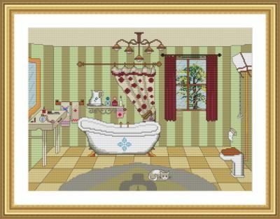 Punto De Cruz Baño | Bano Esquema Para Punto De Cruz O Medio Punto Papel Punto De Cruz