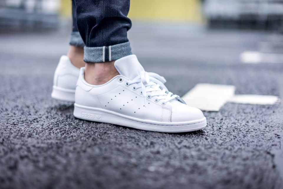 adidas stan smith 2 white/white/black leather trainers