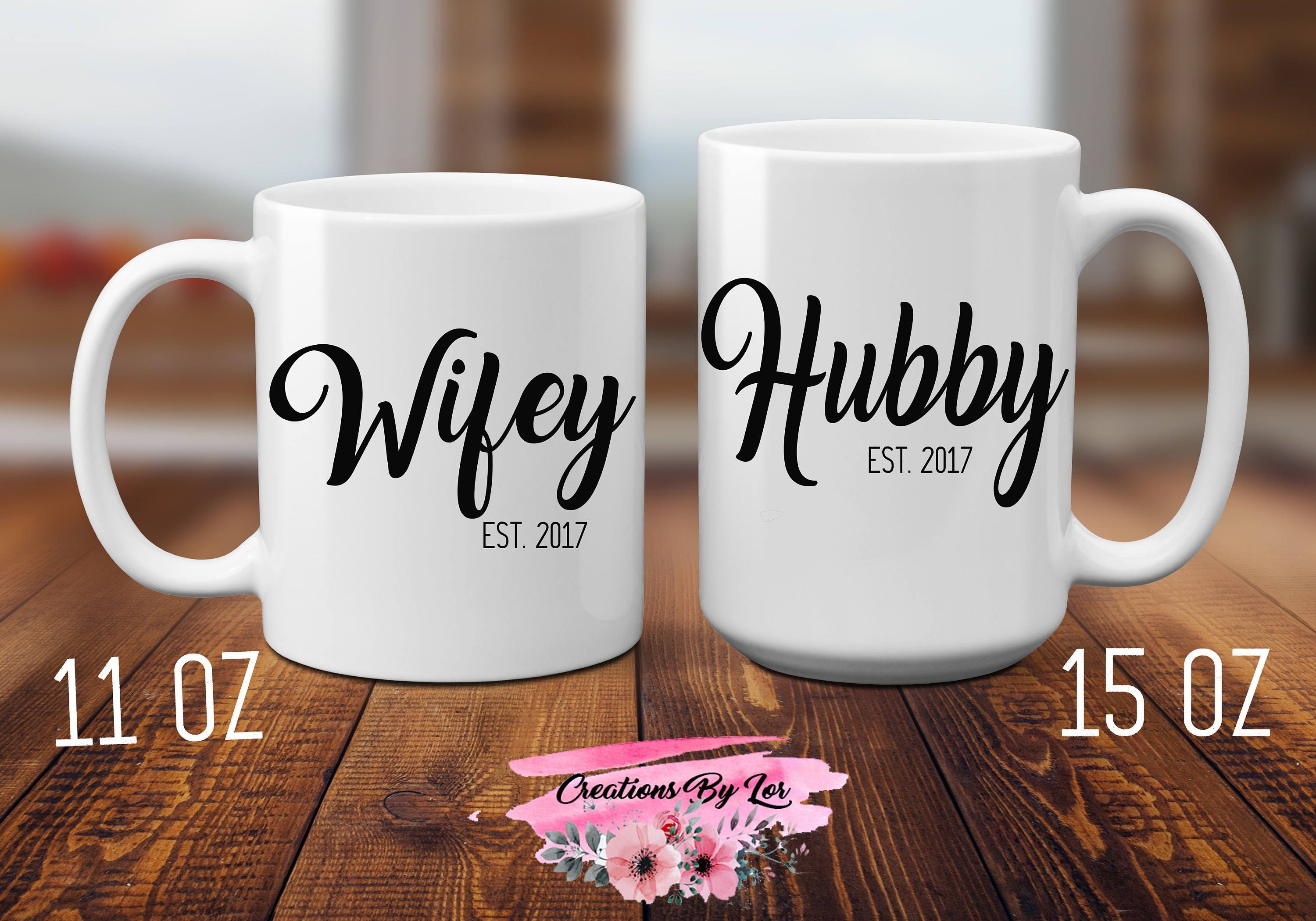 Hubby and Wifey Mugs Coffee and Tea Mug | Sublimation Mugs | Gift ...