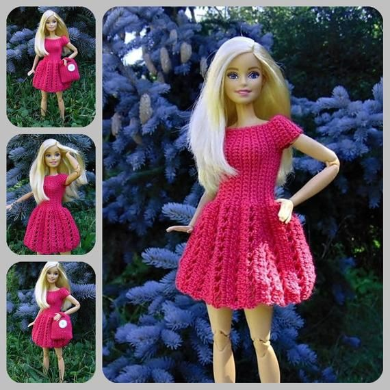 Barbie doll dress, crochet, barbie, doll dress, doll, purse, pink, dress, knit, knitted, dresses, outfit, doll clothing #crochetedbarbiedollclothes