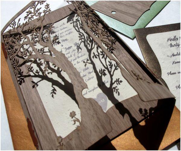 6db495d3489c13e012605c8f6bd6fade clever 'love tree' wedding invitation by laser creative! to see,Unique Rustic Wedding Invitations